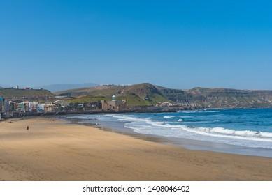 View of the beach Playa Las Canteras, Las Palmas de Gran Canaria, Spain