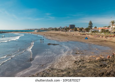 View of the beach of San Agustin on Gran Canaria