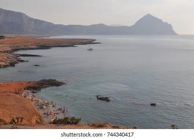 View of the beach in San Vito Lo Capo, Italy