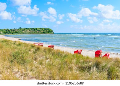 View of beach and sand dunes in Lobbe village, Ruegen island, Baltic Sea, Germany