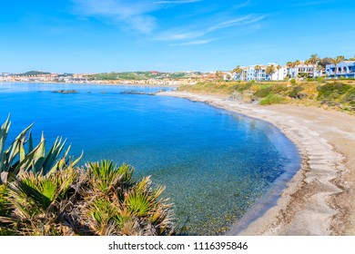 View of beach and sea bay near Estepona town on Costa del Sol, Spain