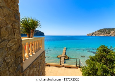 View beach sea villa apartment sunny day, Camp de Mar, Majorca island, Spain