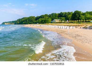 View of beach with sea waves in Goehren town, Ruegen island, Baltic Sea, Germany