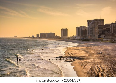 View of the beach and skyline from The Pier Shops at Caesars in Atlantic City, New Jersey.