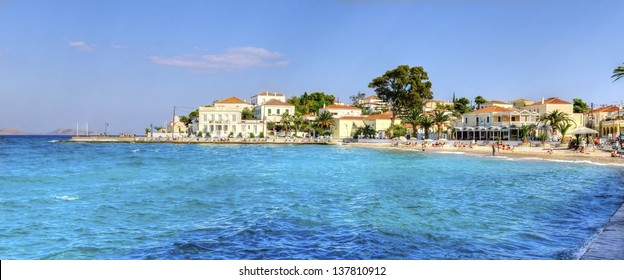 A view of the beach and some local architecture on the beautiful Greek Island, Spetses