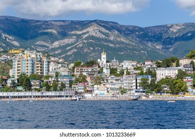 view of the beach of Yalta from the sea, Crimea
