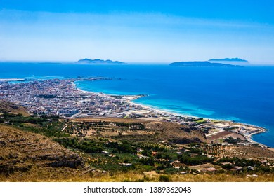 View of the beaches of Erice, of Trapani with the Egadi Islands