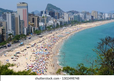 View of the beaches of Leblon and Ipanema in the south zone of the city of Rio de Janeiro.