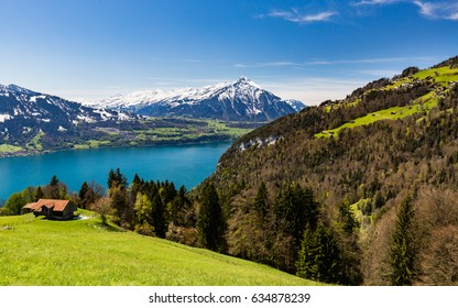 View from Beatenberg to the Lake Thun and the Niesen Mountain in the Swiss Bernese Alps