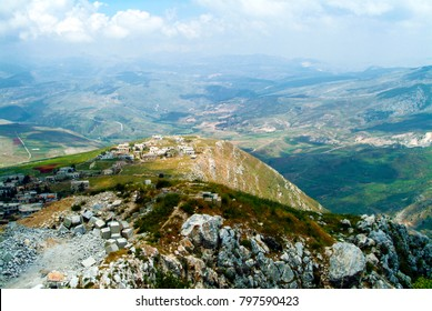 View from Beaufort Crusader Castle in Lebanon. Ancient castle is set on a hill with clear views to surrounding country, ideal for defence. Crusaders took the hill in 1139 but Saladin owned it in 1190.