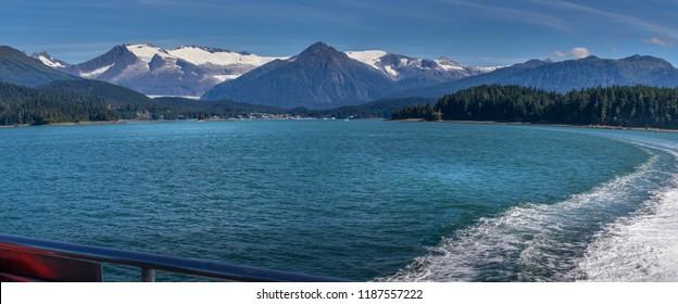 View of beautiful Auke Bay located in Juneau, Alaska