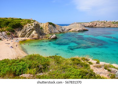 View of beautiful bay and Arenal d'en Castell beach on Menorca island, Spain