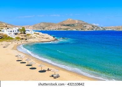 A view of beautiful bay with beach in Naoussa village, Paros island, Cyclades, Greece