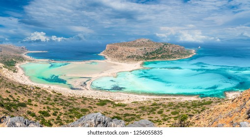 View of the beautiful beach in Balos Lagoon, and Gramvousa island on Crete, Greece.