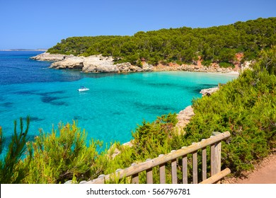 View of beautiful beach with crystal clear turquoise sea water, Menorca island, Spain