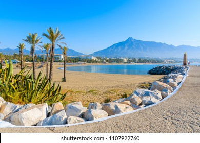 View of beautiful beach with palm trees in Marbella near Puerto Banus marina, Costa del Sol, Spain