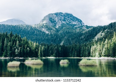 View of a beautiful Black lake, forest and peak at Durmitor mountain in Montenegro