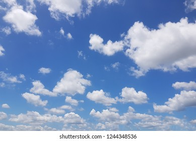 View of a beautiful blue sky with many white fluffy clouds