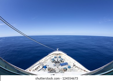 View Of Beautiful Blue Sky And Ocean From A Cruise Ship