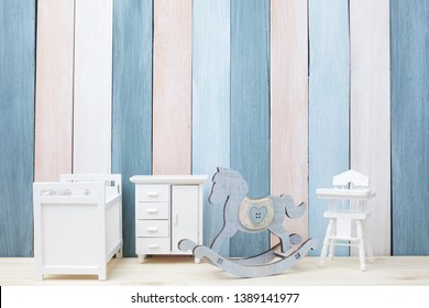 view of beautiful children room with blue wall copy space