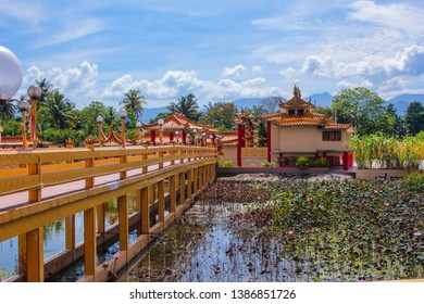 View of a beautiful chinese temple and lotus pond in Seen Hock Yeen Confucius Temple in Chemor, Perak, Malaysia