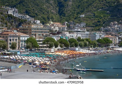 View of the beautiful city of Maiori, on the Amalfi Coast, Italy