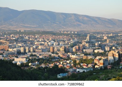 View of the beautiful city of Skopje in Macedonia. This photo is taken from the mountain Vodno that is located in the southwest part of capital city Skopje.
