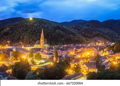 View of the beautiful city of Thann in France - Alsace