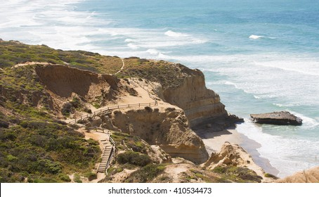 view of beautiful cliffs at the coast of southern california, torrey pines state natural reserve