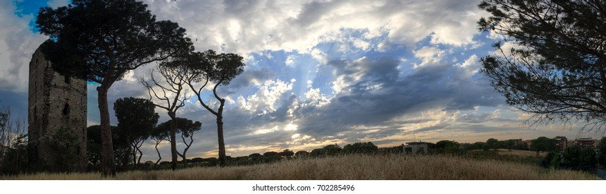 View of beautiful cloudy sky on wheat lawn