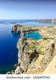 View of Beautiful cove at St Pauls Bay/Rhodos island, Lindos - Greece