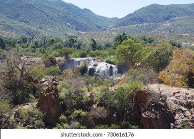 A view of the beautiful Epupa Falls on the border of Namibia and Angola. Cunene River.