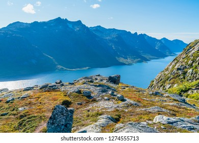 View of beautiful Ersfjorden fjord on the west coast of the island of Kvaloya in Tromso Municipality in Troms county, Norway