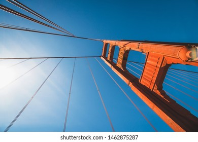 View of the beautiful famous Golden Gate Bridge in San Francisco, California, United States at daylight