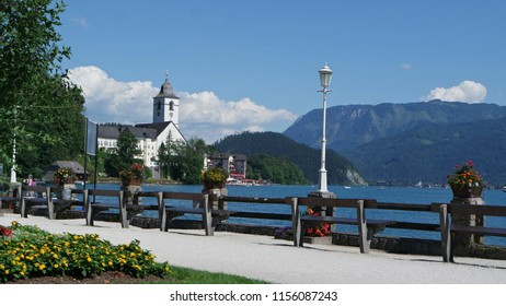 View of beautiful famous histrical town St. Walfgang in Austria, that lies on the shores of Lake Wolfgangsee.