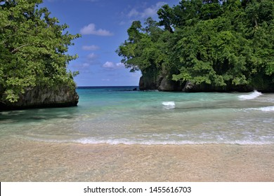 View of the beautiful Frenchmans Cove Beach. Jamaica.