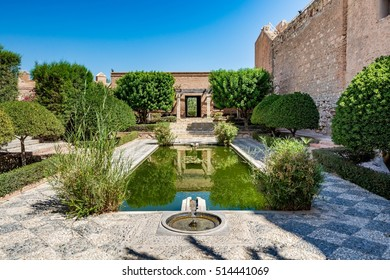 View of the beautiful gardens in the Almeria castle (Alcazaba of Almeria), Spain