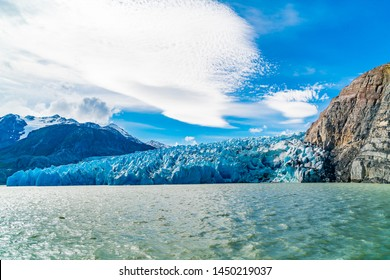View of beautiful Glacier Grey and Lake Grey at Torres del Paine National Park in Southern Chilean Patagonia Ice Field in sunny day, Chile