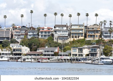 A view of the beautiful harbor front Architecture in Newport Beach, California.