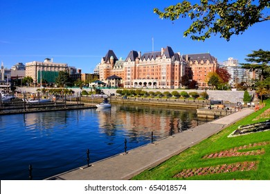 View of the beautiful harbor of Victoria, Vancouver Island, BC, Canada