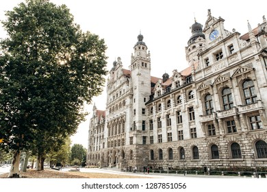 View of a beautiful historic building in Leipzig in Germany in an autumn sunny day. City landmark or tourist place