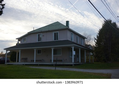 view of beautiful house at bishopton town of dudswell on the townships trail of eastern townships in quebec, canada