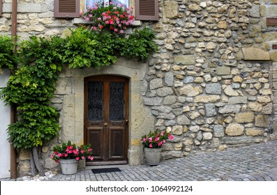 View of a Beautiful House Exterior and Front Door in an old Swiss town