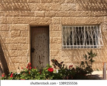 View of a Beautiful House Exterior and Front Door Seen on a Jerusalem Street