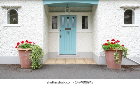 View of a Beautiful House Exterior and Front Door in England