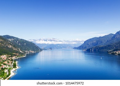 View of beautiful lake, Como lake, Italy