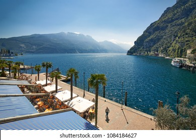 View of the beautiful Lake Garda .Riva del Garda town and Garda lake in the summer time , Italy
