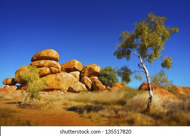 View of the beautiful landscape in the Australian outback.