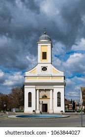 View of the beautiful medieval Church of All Saints against a beautiful clouded sky in the city of Djakovo in eastern Croatia, Slavonia