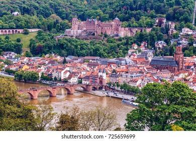 View of beautiful medieval town Heidelberg, Germany